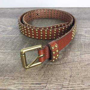 J crew leather studded belt brown size Small